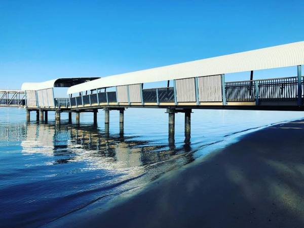 Our new jetty, a triumph of thoughtful design. I love how the colours actually match our sand and blue sea environment.