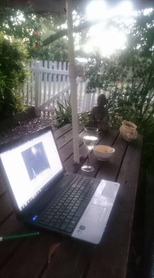 Writing in the late afternoon, outdoors